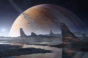 Big Planet Space Art 4k