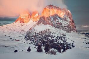 Big Rock Mountain Covered In Snow 5k Wallpaper
