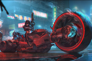 Big Tire Cyberpunk Bike Rider Girl
