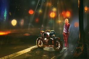 Bike Girl And Smoking Wallpaper