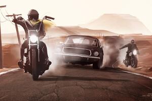Bike Rider And Mustang