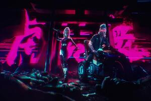 Biker Boy And Girl Cyberpunk 2077 4k