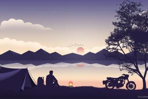 Biker Camping Wallpaper