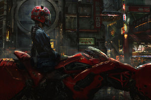 Biker Cyberpunk Girl Scifi Wallpaper