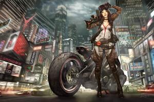 Biker Girl Art