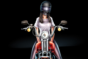 Biker Girl Digital Art 4k