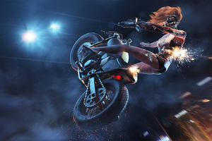 Biker Girl Stunts Wallpaper