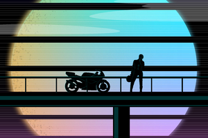 Biker Moto Sunset 1989 Suzuki Wallpaper