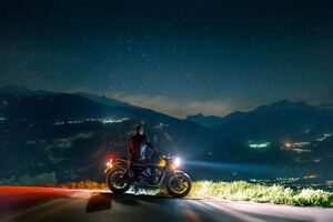 Biker Rider Chilling On Mountain Side 5k Wallpaper