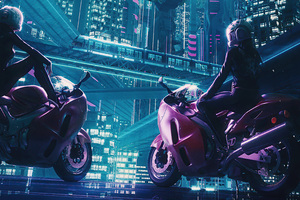Bikers Girl In Cyber City 4k Wallpaper