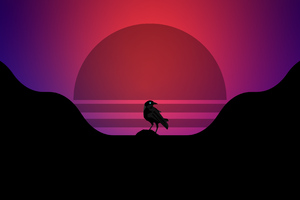 Bird Synthwave 4k
