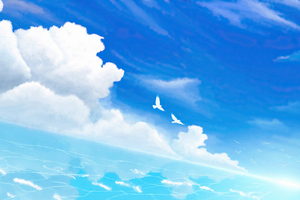 Birds In Blue Horizon 4k Wallpaper