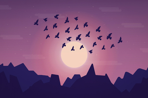 Birds Sky Minimal 5k Wallpaper