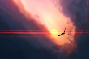 Birds Sunset Clouds 4k Wallpaper