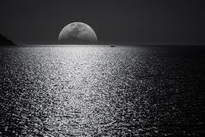 Black And White Moon Ocean During Night Time Wallpaper