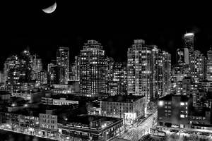 Black And White Vancouver City 4k Wallpaper