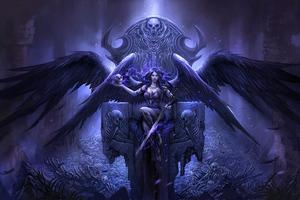 Black Angel Sitting On Throne 4k