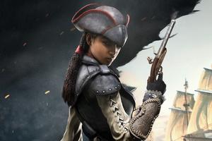 Black Assassins Creed Character 4k