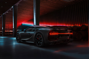 Black Bugatti Chiron 2020 Rear