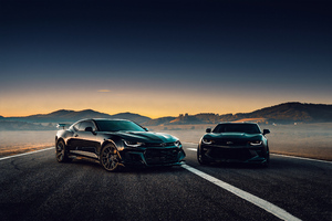 Black Camaro On Road Side Wallpaper