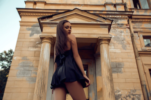 Black Clothing Girl Looking Back 4k Wallpaper