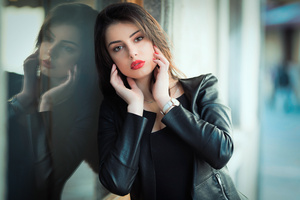 Black Clothing Jacket Beautiful Girl Wallpaper