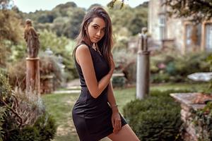 Black Dress Brunette Posing 4k Wallpaper