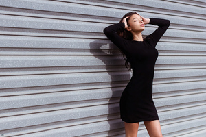 Black Dress Girl Hands In Hair Eyes Closed 4k Wallpaper