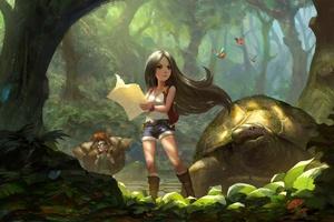 Black Hair Exploration Forest Girl