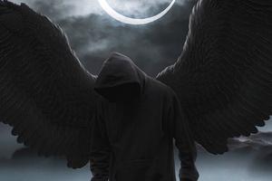 Black Hoodie Boy Angel 4k Wallpaper