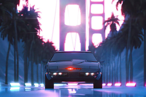 Black Knight Rider Car Vaporwave 5k Wallpaper