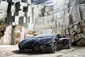 Black Lamborghini Aventador 4k