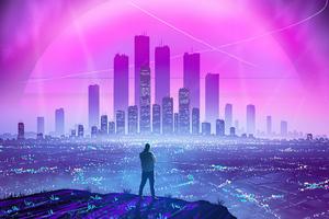 Black Lights Of City Synthwave 5k