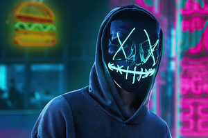 Black Mask Hoodie Boy In City 4k Wallpaper