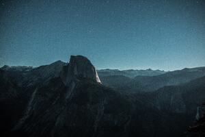 Black Mountain Under Blue Sky 5k Wallpaper
