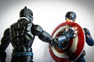 Black Panther And Captain America Shield