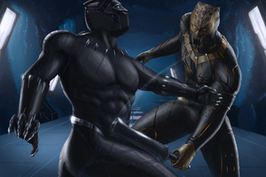 Black Panther And Erik Killmonger Artwork