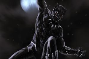 Black Panther Artwork 4k Wallpaper