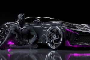 Black Panther Bugatti Chiron La Voiture Noire