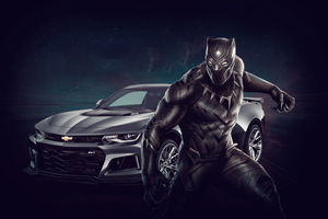 Black Panther Chevrolet Camaro 4k