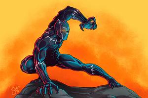 Black Panther Digital Paint Art 4k