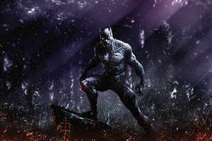Black Panther Flame Artwork Wallpaper