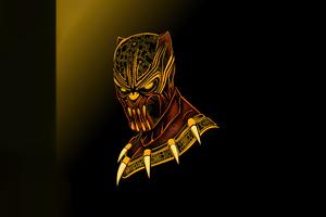 Black Panther Gold Minimal 5k Wallpaper