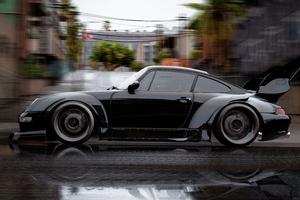 Black Porsche Rain Motion 5k