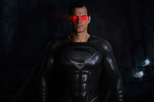 Black Suit Superman Red Glowing Eyes 4k Wallpaper