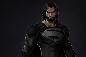 Black Superman Suit Beard Wallpaper