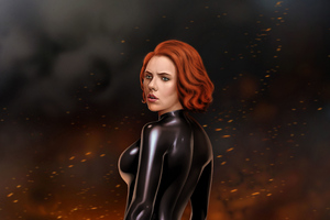 Black Widow 5k Digital Artwork Wallpaper