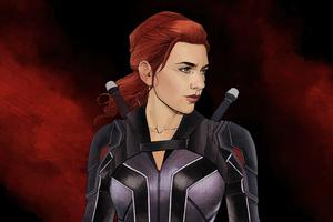 Black Widow Artwork 4k 2020
