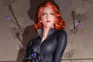 Black Widow Closeup Art Wallpaper