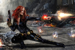 Black Widow Firing Artwork Wallpaper